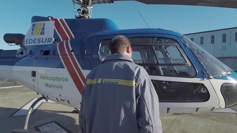 Helicóptero de Edesur: tecnología láser para prevenir fallas